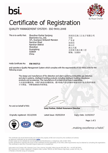 BSI Quality System Certificate